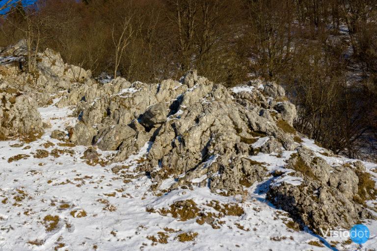 Roccia fuoriuscente dalla neve